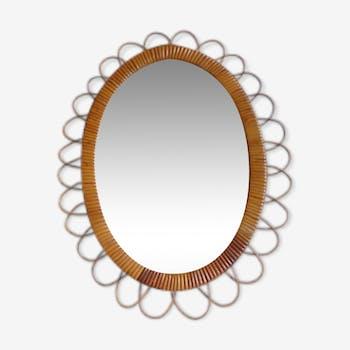 Miroir fleur en rotin vintage 49x39 cm