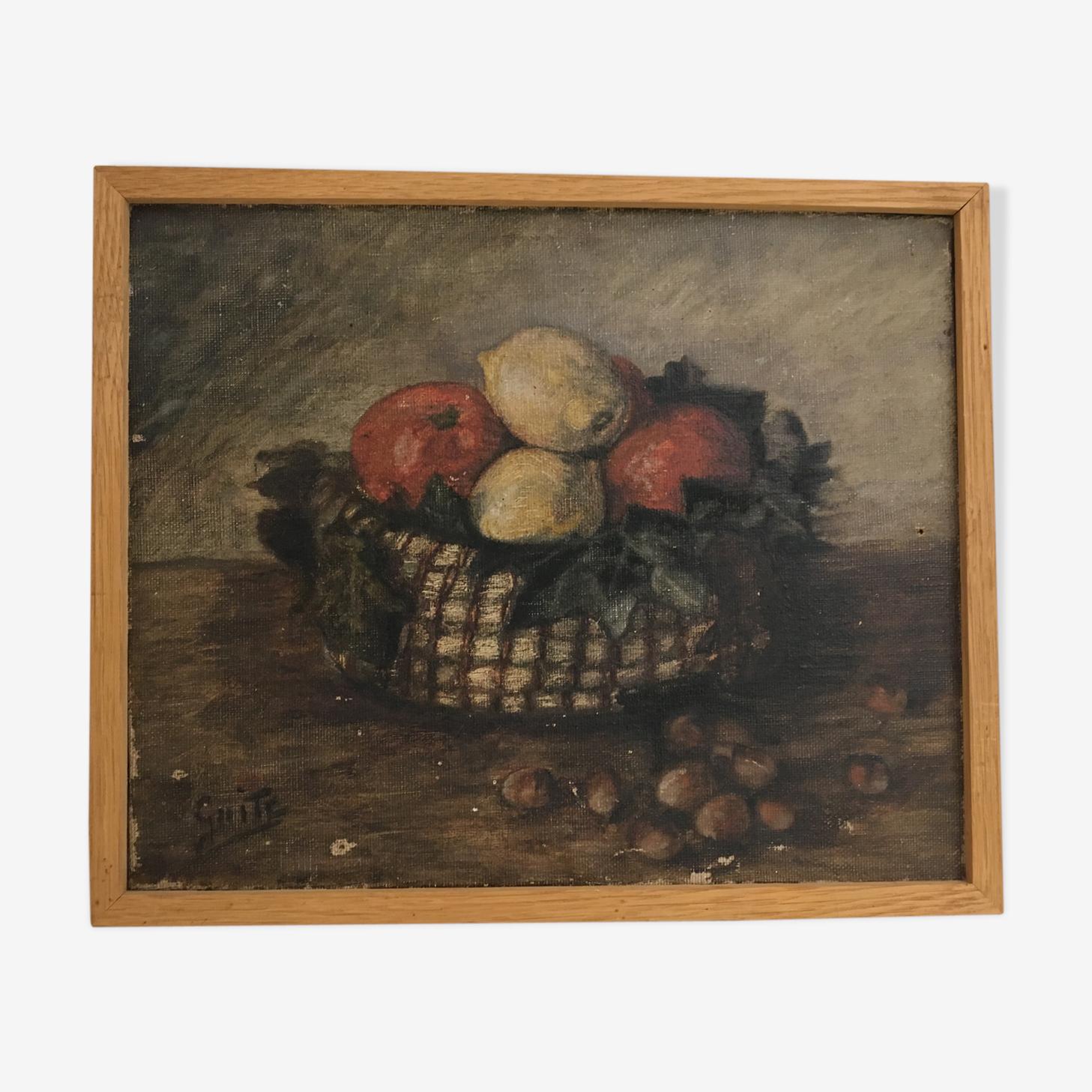 Tableau de fruits dans un panier