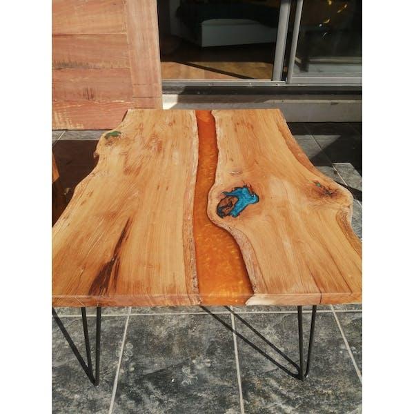 Table Basse Design Bois Massif Resine Epoxy Selency