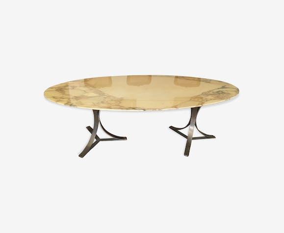 Table Ovale En Marbre Vintage Osvaldo Borsani Marbre Blanc