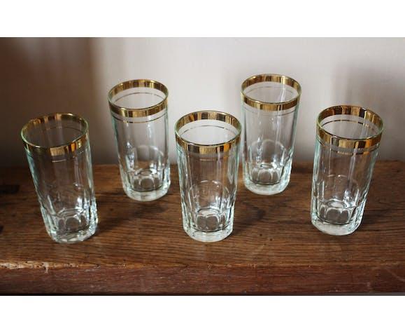 Lot 5 verres dorure orangeade années 50