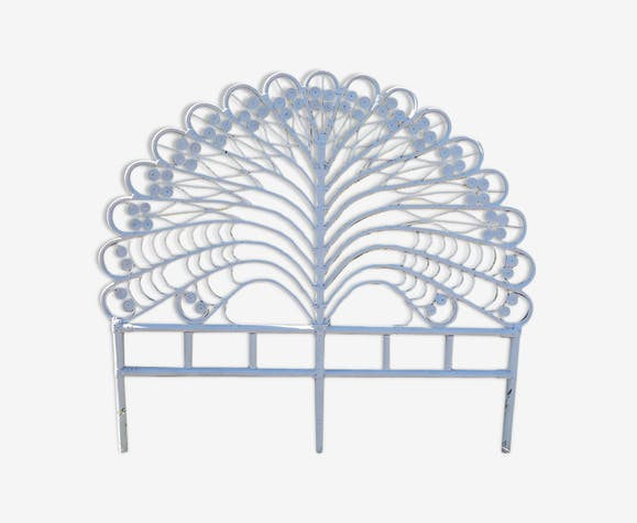 Vintage Peacock white rattan bedhead with two squares