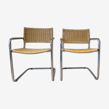 Pair of armchairs cantileve