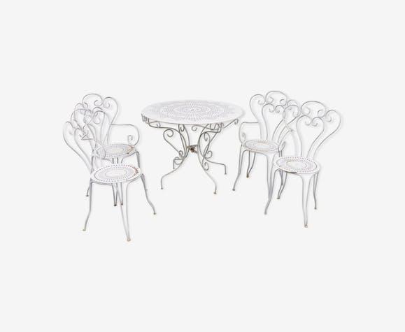 Salon de jardin table & chaises en tôle blanche style 1900 ...