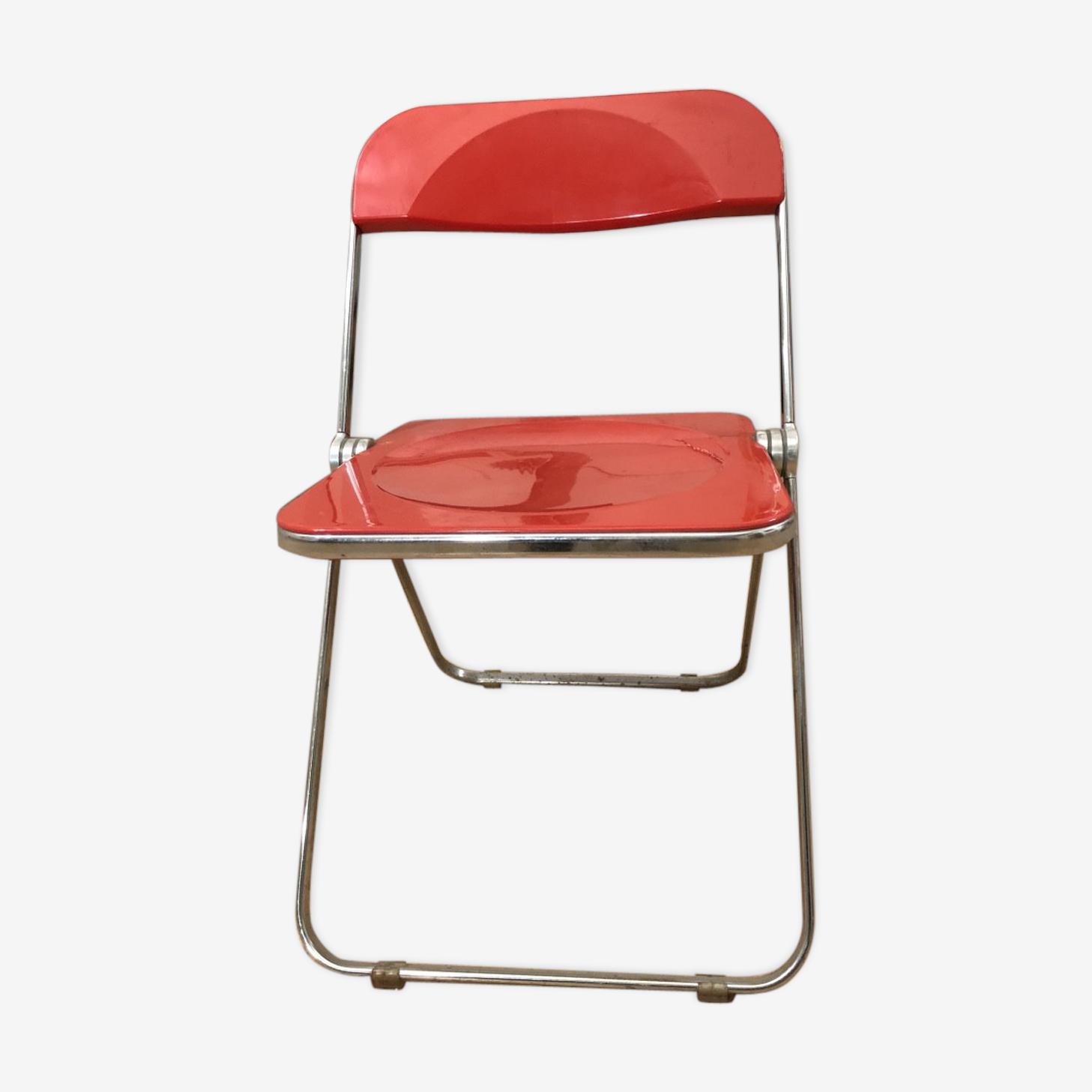 Italian designer bright red folding chair