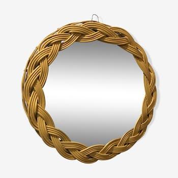 Pretty braided rattan mirror 30cm