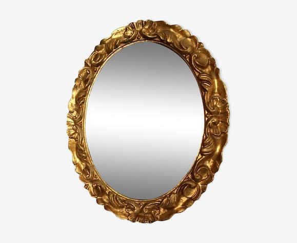 Miroir doré ovale, 45x26 cm, années 1950