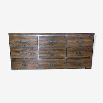 Meuble de métier meuble mercerie entièrement restauré 9 tiroirs industriel