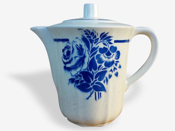 Cafetière. Service à café, Faïence de Luneville, blanc et bleu, années 1910. French vintage. Shabby chic