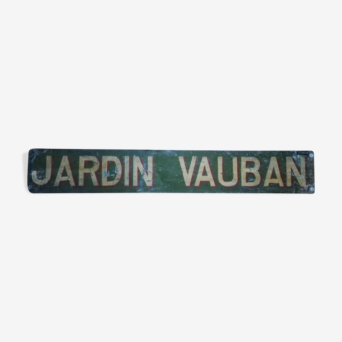 """Plaque ancienne de destination d'autobus """" jardin vauban """""""