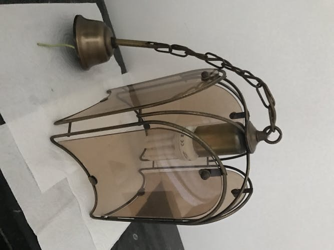 Suspension in brass and glass