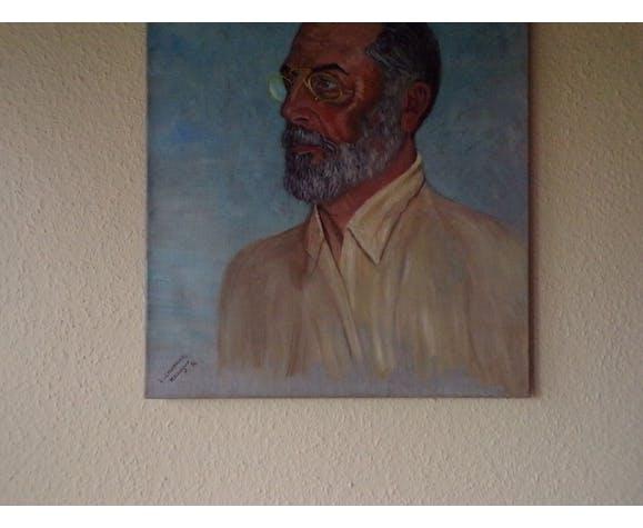 Portrait huile sur toile signé