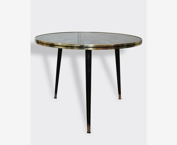 table basse tripode vintage verre 1950 verre et cristal noir vintage 2434. Black Bedroom Furniture Sets. Home Design Ideas