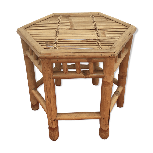 Table Basse Hexagonale En Bambou Et Rotin Rotin Et Osier Bois Couleur Bon Etat Vintage Terp3jch