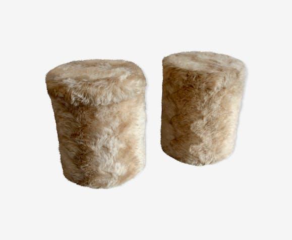 Lot de 2 poufs « moumoute »  circa 70