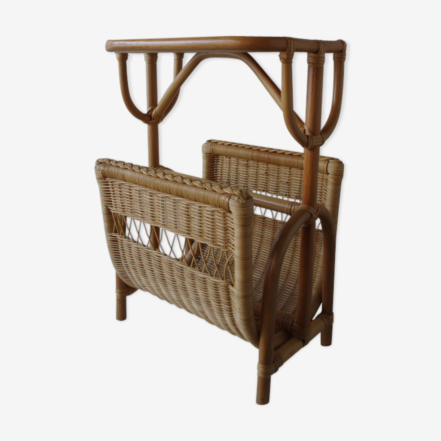 Wicker Magazine Rack, 1970s