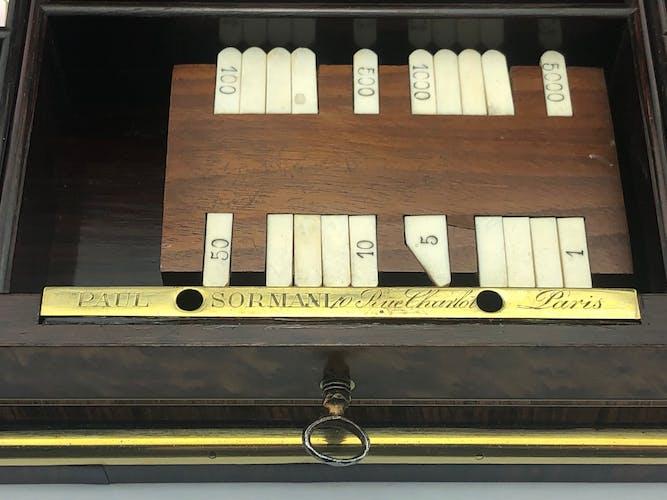 Boite à jeux Napoléon III en marqueterie boulle signé Sormani