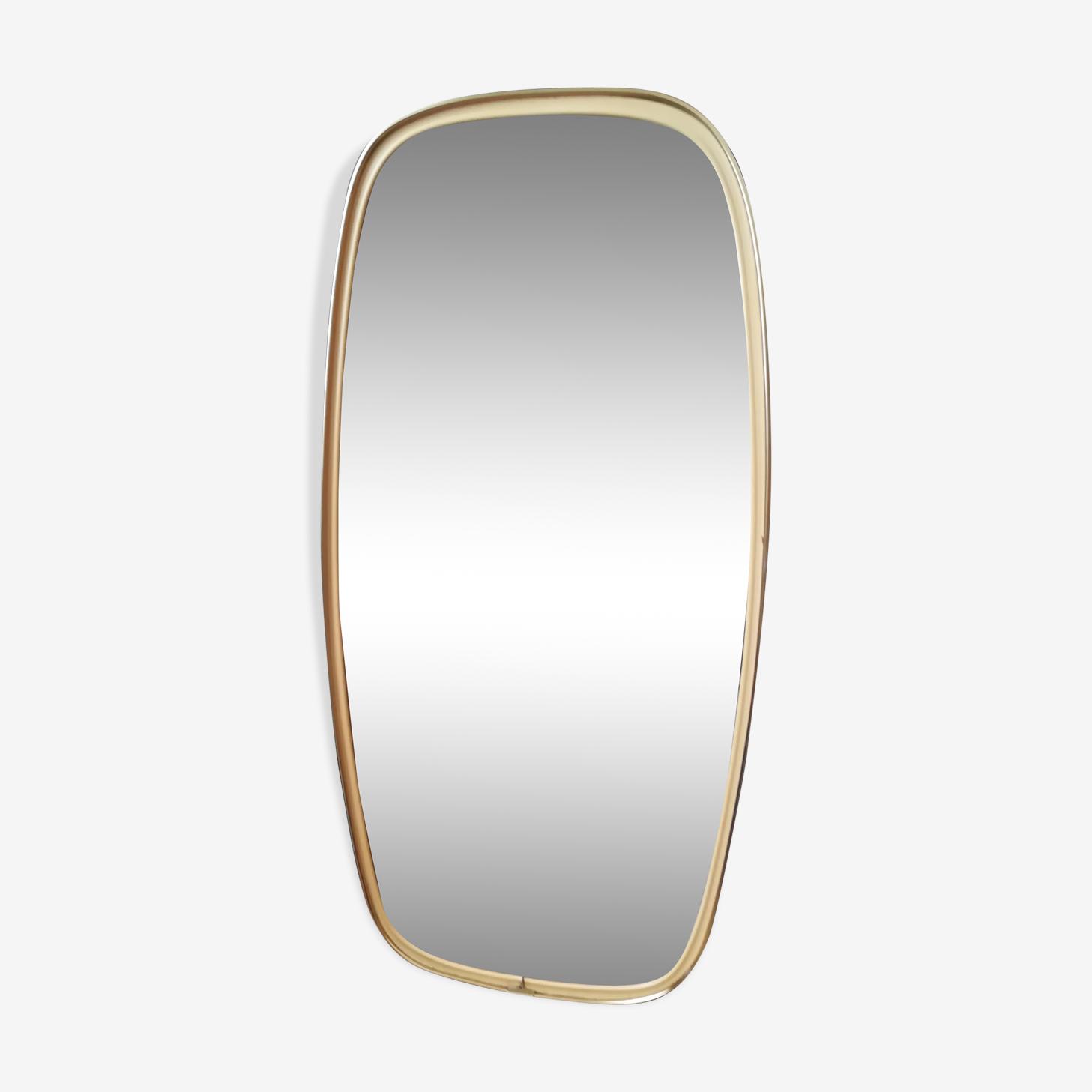 Miroir rétroviseur asymétrique forme libre vintage laiton 23x47cm