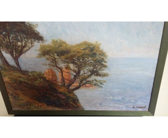 Oil on canvas Edge of the Mediterranean, rocks and pines of B.Willard