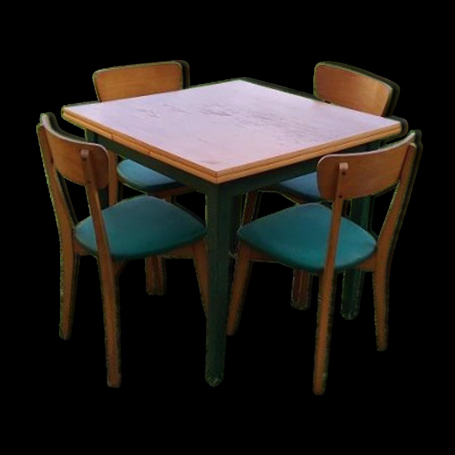 Table bois carre avec rallonge simple good table carre en for Ensemble salle a manger table carree
