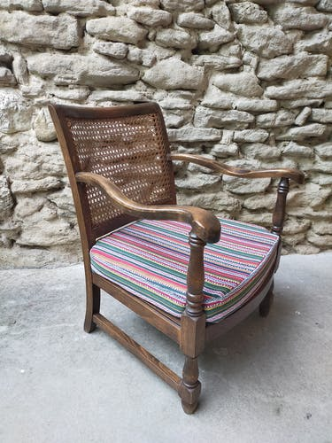 Lot de 4 fauteuils vintage bois