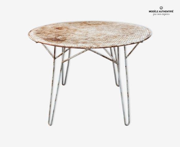 Table de jardin Mathieu Mategot - fer - blanc - vintage - mPHQCCq