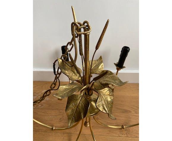 Lustre 6 branches en métal doré