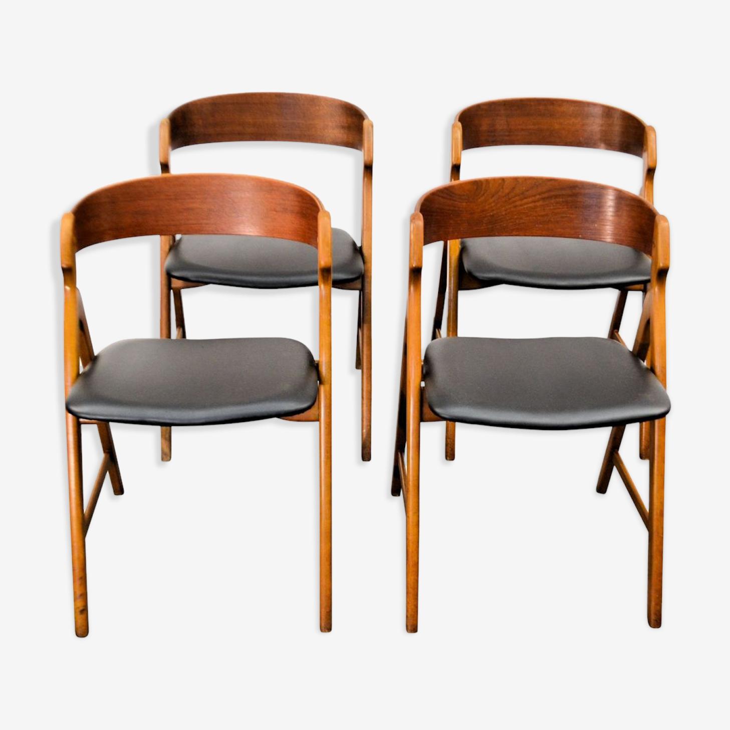 Chaises vintage N71en  teck par Henning Kjaernulf