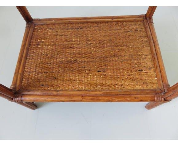 Table de chevet en rotin années 60 70