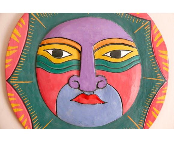 Masque ethnique en bois, années 80