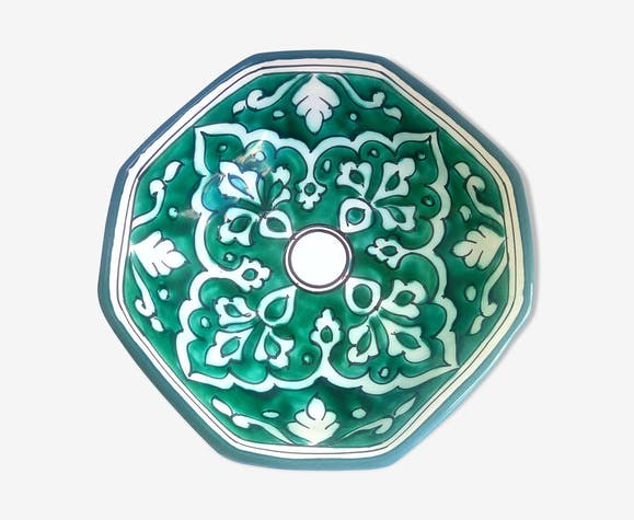 Saladier marocain octogone à volutes vertes