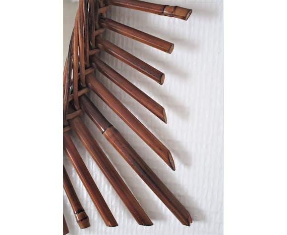 Miroir ovale rotin bambou années 60 44x60cm