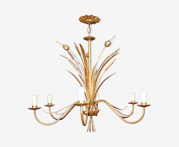 Lustre roseaux doré à six ampoules