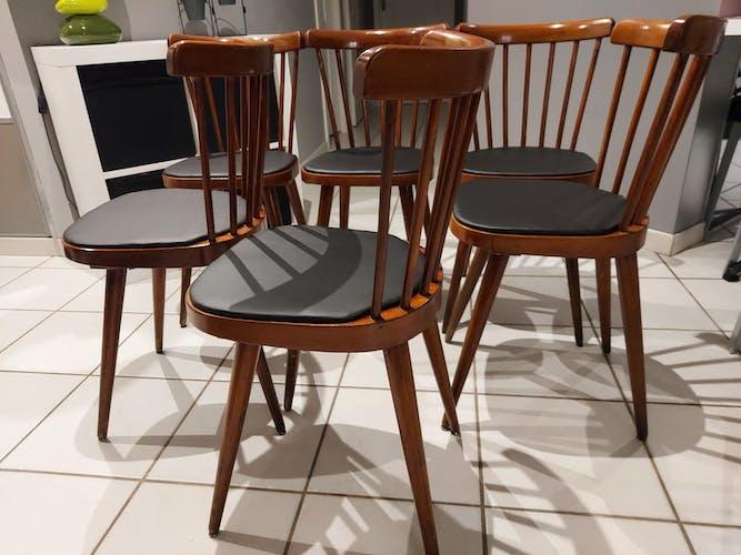 Suite de 6 chaises de Bistrot Baumann 740V vintage, 1960