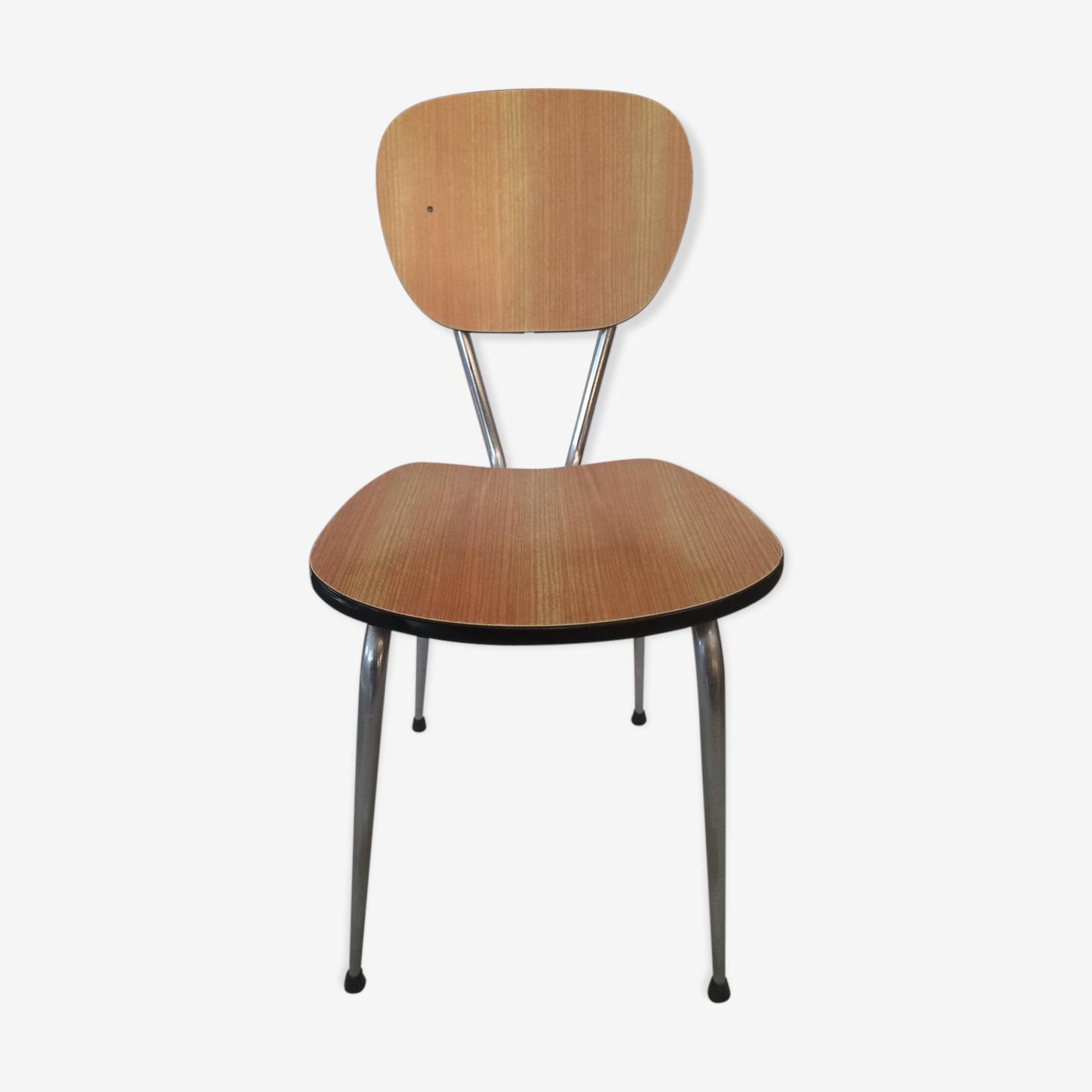 Chaise en formica orange / marron