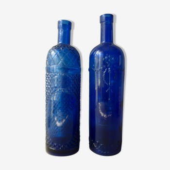 Pair of 2 blue glass bottles