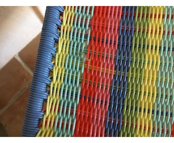 Paire de chaises enfants scoubidou vintage 60/70