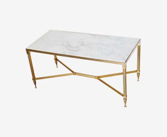 Table Basse Marbre Laiton Années 60 Marbre Blanc Classique