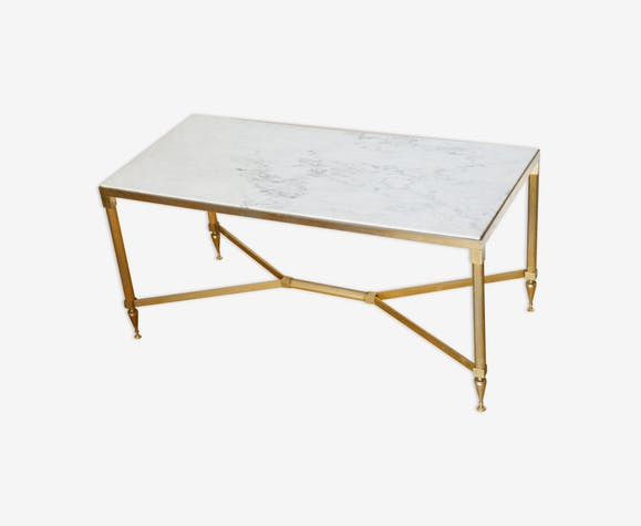 laiton 60 basse Table marbre marble années white xoCeBrdW