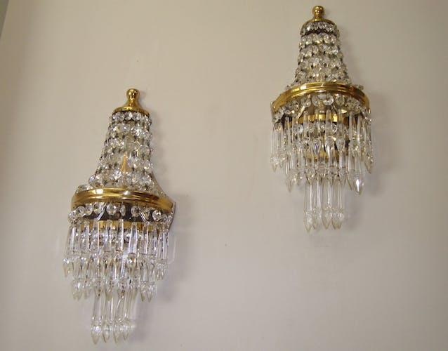 Paire d'appliques montgolfière anciennes sac à perles