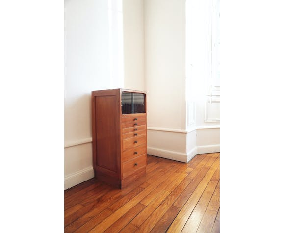 Small metier furniture chest of drawers with display case