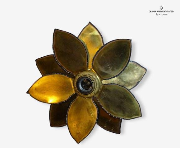 Applique murale fleur de maison jansen en laiton doré vintage