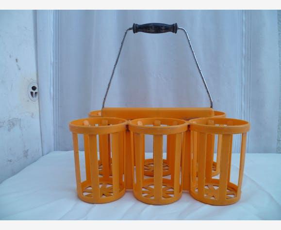 Porte Bouteilles X 6 Vintage Plastique Orange Poignée En Bois Noirci