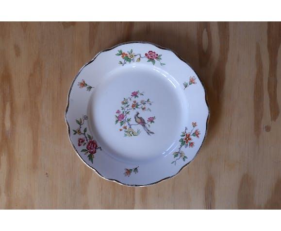 Set de 3 petites assiettes vintage fleurs et oiseau Digoin et Sarreguemine