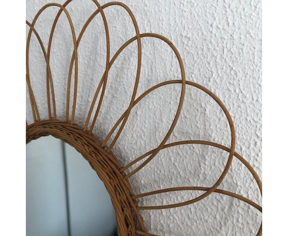 Miroir soleil fleur rotin vintage 1960 - 48 cm