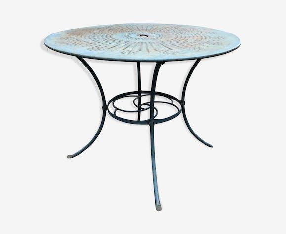 Table verte en fer forgé de jardin ronde - fer - vert - vintage ...