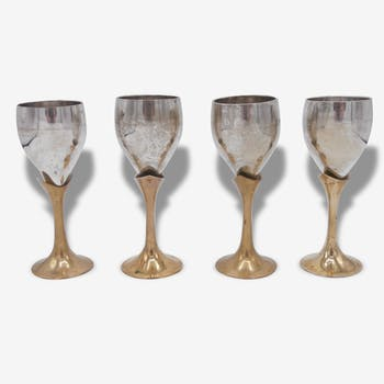 Small glasses plated silver + small tray