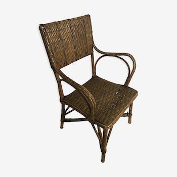 Ancien fauteuil en rotin et paille tressé pour enfant