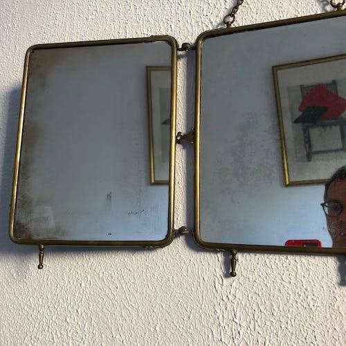 Mirror triptych barber gilded vintage wood 1930 - 31 x 70 cm