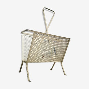 Magazine rack in lacquered white openwork iron